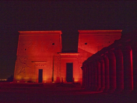 Son et Lumiere performance at the Temple complex at Philae Island on the River Nile in Eygpt
