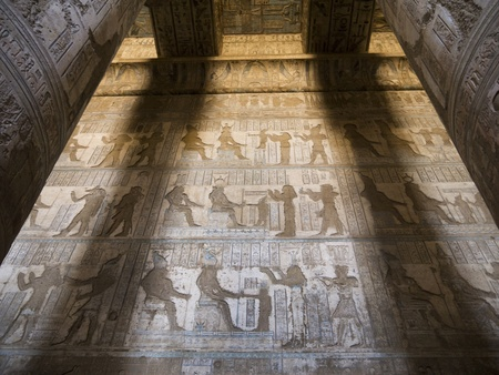 crypt: The Temple at Denderah near Luxor Eygpt dedicated to Hathor which was a graeco-roman site used by Queen Cleopatra, famous for its zodiac Editorial