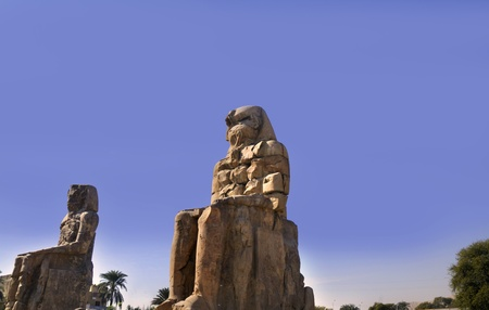 The Colossi of Memnon are two massive stone statues of Pharaoh Amenhotep III. For the past 3400 years they have stood in the Theban necropolis, across the River Nile from the modern city of Luxor.