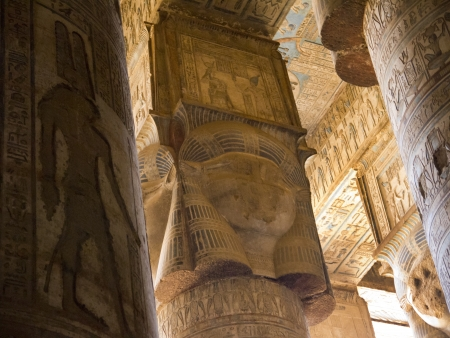 holies: The Temple at Denderah near Luxor Eygpt dedicated to Hathor which was a graeco-roman site used by Queen Cleopatra, famous for its zodiac Editorial