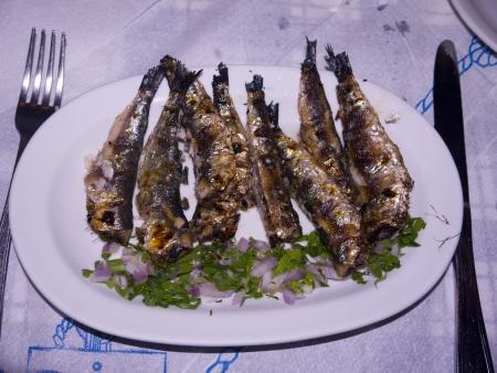 sardines: Sardines for Lunch on the island of Mykonos Greece Stock Photo
