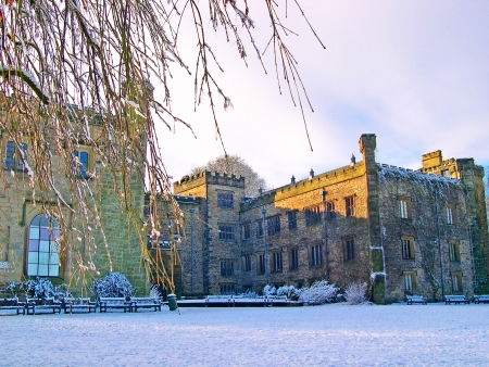 burnley: Winter comes to 14th century Towneley Hall in Burnley Lancashire