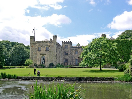 burnley: Summer comes to 14th century Towneley Hall in Burnley Lancashire Editorial