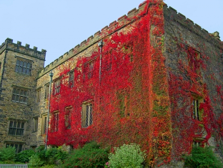 burnley: Autumn comes to 14th century Towneley Hall in Burnley Lancashire