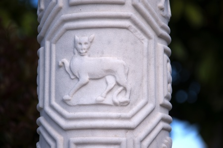 Carved Column in Garden on the Big Sur in California
