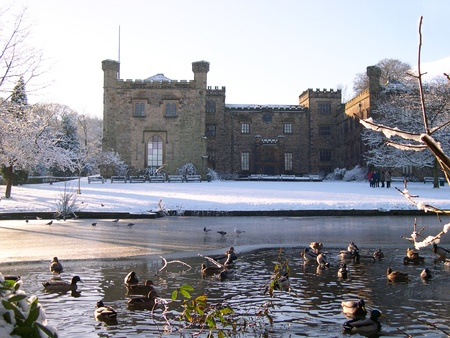 Frozen Duck Pond at Towneley Hall in Burnley Lancashire