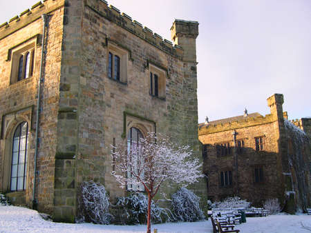Winter comes to 14th century Towneley Hall in Burnley Lancashire