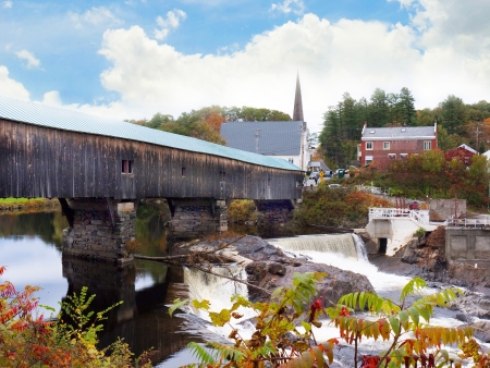 Bath and its Wooden Bridge in New Hampshire USA