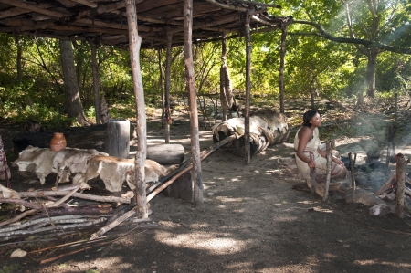 wampanoag: The Plimoth Plantation Museum in Plymouth Massachusetts where actors create the settlement of the Pilgrims & Wampanoag Indians