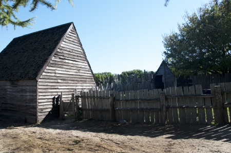 The Plimoth Plantation Museum in Plymouth Massachusetts where actors create the settlement of the Pilgrims & Wampanoag Indians