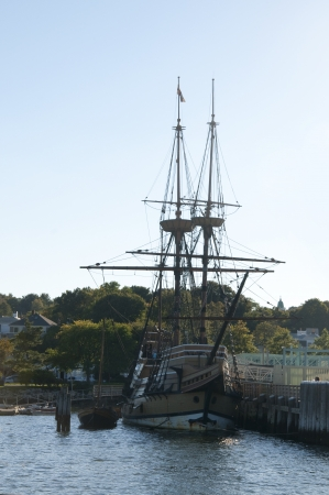 mayflower: The Mayflower II is a full-size replica of the Mayflower, the ship which brought the Pilgrims to Plymouth in 1620. It is located at the State Pier in Plymouth Center Editorial