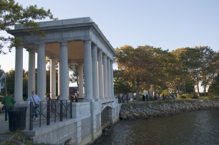 plymouth: Portico over the Plymouth Rock in Massachusetts USA Editorial