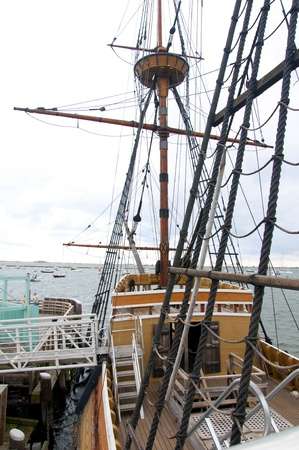 The Mayflower II is a full-size replica of the Mayflower, the ship which brought the Pilgrims to Plymouth in 1620. It is located at the State Pier in Plymouth Center Editorial