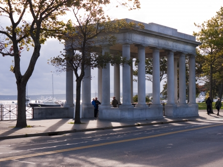 wampanoag: Portico over the Plymouth Rock in Massachusetts USA Editorial