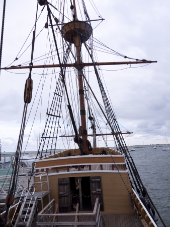 mayflower: The Mayflower II is a full-size replica of the Mayflower, the ship which brought the Pilgrims to Plymouth in 1620. It is located at the State Pier in Plymouth Center Massachusett USA Editorial