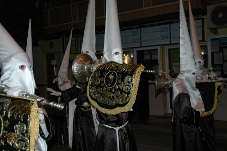 arroyo: Easter procession in Benalmadena Pueblo Village Andalucia Spain. Statues are carried through the streets of Benalmadena in Andalucia in Southern Spain. Editorial