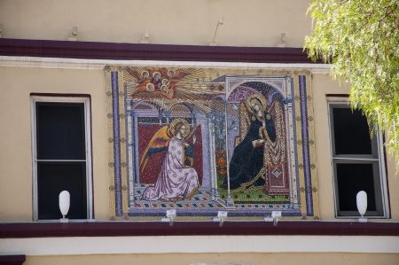 Church at Olvera Street Mexican Market in Los Angeles USA