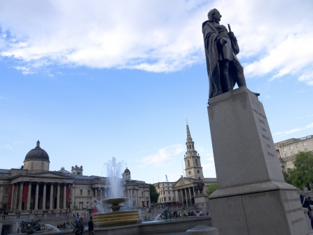 Trafalgar Square and the National  Gallery in London England