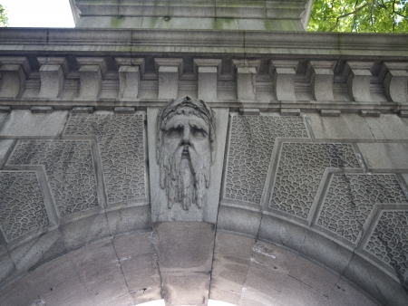 father in law: Head of Old Father Thames on Arch in London England