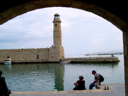The Lighthouse at the entrance to the Harbour at Rethymno in Crete Greece