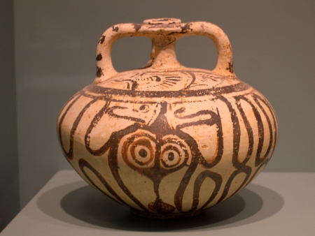 Minoan Pottery in the Museum in Chania on the island of Crete Greece Editorial