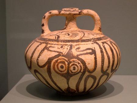 brenda kean: Minoan Pottery in the Museum in Chania on the island of Crete Greece Editorial