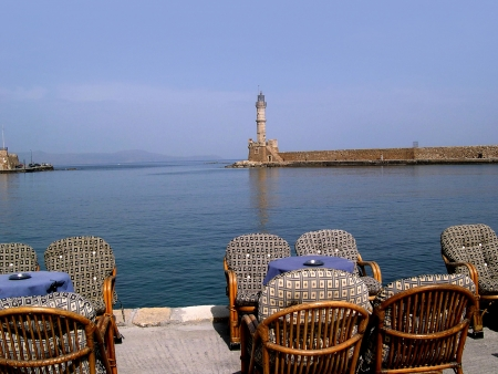 Lighthouse in Chania on the island of Crete Greece