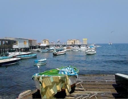 marquetry: Marina Grande the old fishing port of Sorrento in Southern Italy
