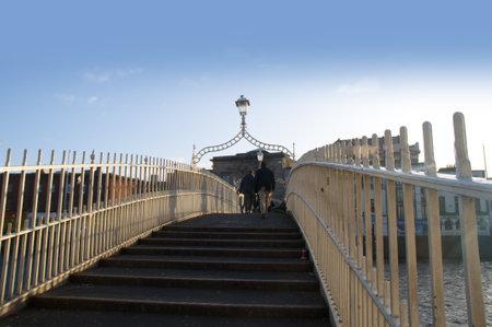 kilmainham: The Halfpenny Bridge over the River Liffey in Dublin Ireland