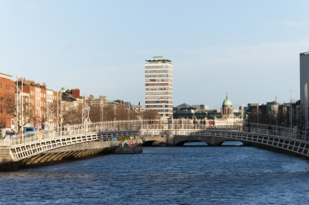 stateroom: The Halfpenny Bridge over the River Liffey in Dublin Ireland