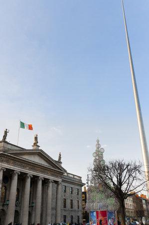 kilmainham: General Post Office on O Connell Street at Christmastime in Dublin Ireland Editorial