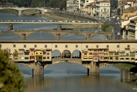 river arno: Bridges over the River Arno from the Belvedere Fortress Florence Italy Editorial