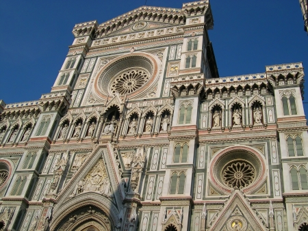 medici: Facade of the Duomo of Santa Maria del Fiore in Florence Tuscany Italy