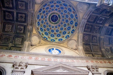 The dome over the entrance to the Patti Chapel in the Church of Santa Croce in Florence Italy