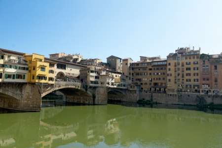 The Ponte Vecchio over the River Arno in Florence Tuscany Italy Editorial