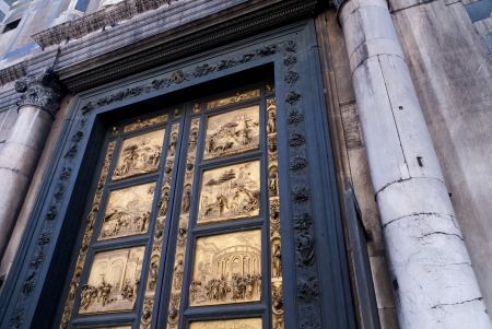 medici: Gates of Paradise, Florence Baptistry by Lorenzo Ghiberti 1425-1452, in Florence Italy Editorial