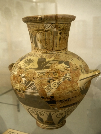 Ancient Greek Pottery items in Archaeological Museum in Mykonos Greece