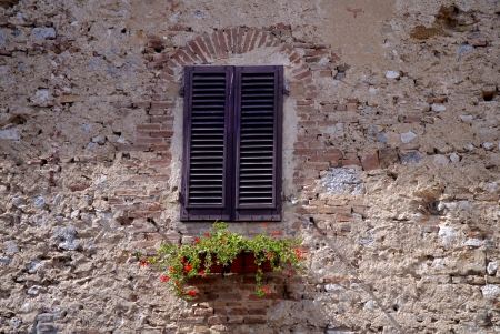 window in San Gimignano Tuscany Italy