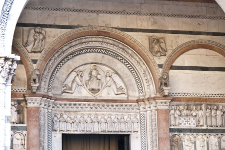 martino: Facade of the Cathedral of San Martino in Lucca Tuscany Italy Editorial