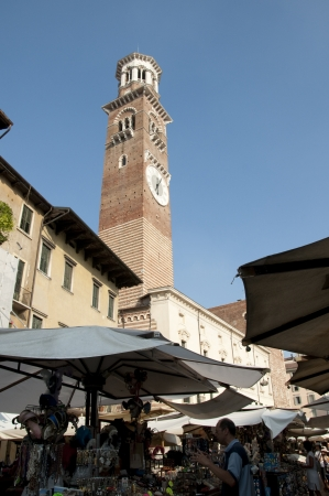 romeo: The Tower Lamberti and the Market in the Piazza della Erbe in Verona the city in Northern Italy which features in tragedy Romeo and Juliet. Editorial