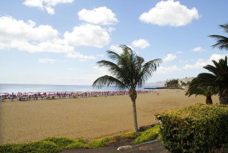 playa blanca: The Beach at Puerto del Carmen on the Canary Island of Lanzarote Spain