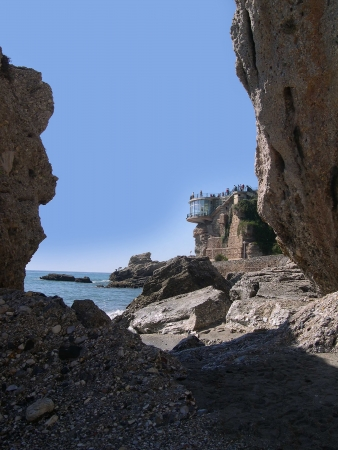 burriana beach: Rocky shoreline near the Burriana Beach in Nerja Andalucia Spain
