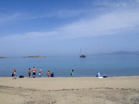 chora: Playa en Chora principal ciudad de la isla de Mykonos Grecia