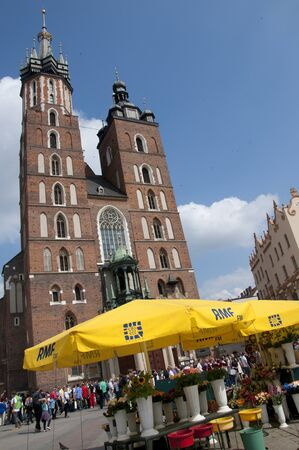 cloth halls: The Church of Mariacki or St Marys Church in Krakow Poland Editorial