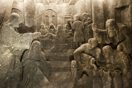 Rock salt carving in the Salt Mine in Wieliczka Poland