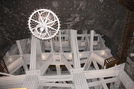 salt mine: Rock Salt Chandelier in the Salt Mine in Wieliczka Poland Editorial