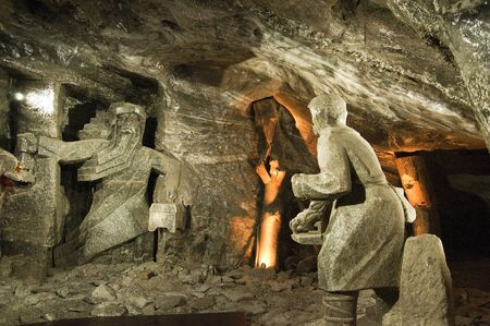 Rock salt statue in the Salt Mine in Wieliczka Poland