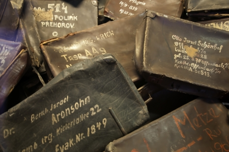 The suitcases of the people killed in the Concentration Camp at Auschwitz in Poland