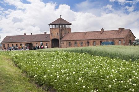 birkenau: approaching Auschwitz Birkenau Concentration Camp in Poland Editorial