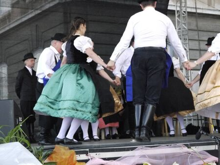 Folk Dancers in Festival at Royal Palace or Castle in Budapest Capital of Hungary